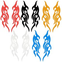 1 Pair Universal 31.5 x 8.7cm Car Trunk Fire Flame Vinyl Decor Decal Sticker For Body Door Bumper Hood Waterproof