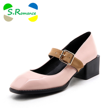 S.Romance Women Pumps Plus Size 34-43 Fashion Sweet Square Toe Buckle Strap Square Heel Woman Shoes Green Red Black Pink SH573
