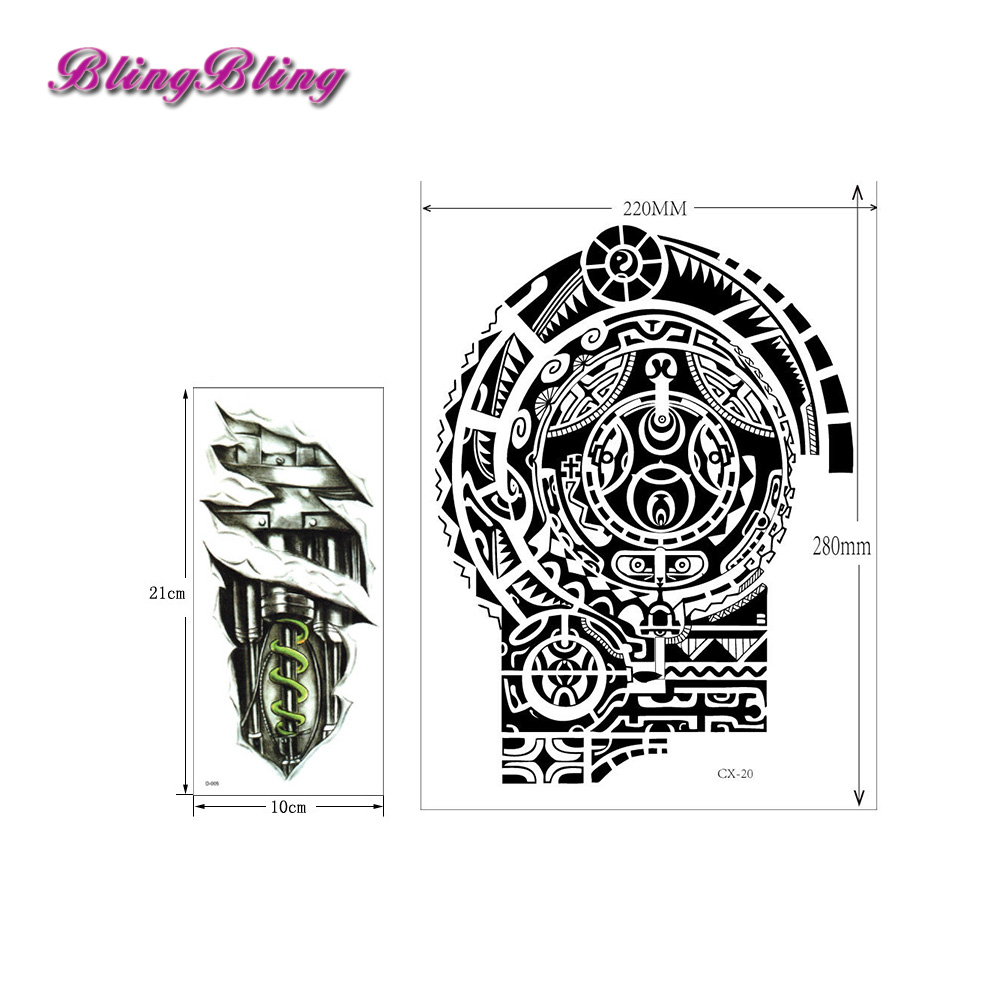 Large Temporary Tattoos Sticker Men Arm lelft Shoulder Fake Tattoo Body Art sticker For Guys Prothorax Twinset 3d Fake Taty 3