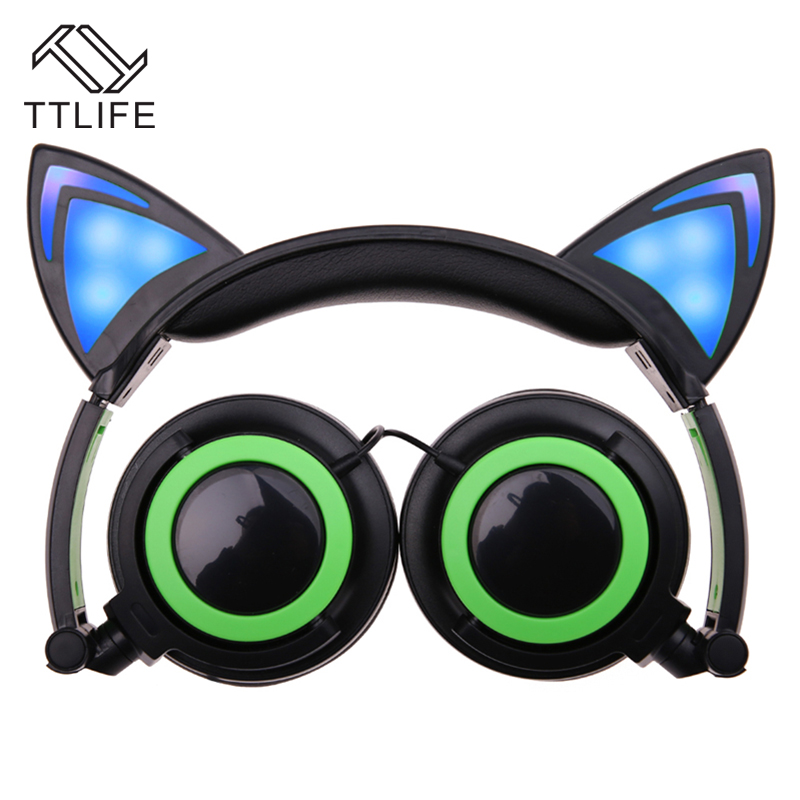 TTLIFE Brand Flashing Glowing cat ear Headphones Christmas Gifts Gaming Headset with LED light Folded Headband Earphone<br><br>Aliexpress