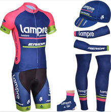 2015 lampre cycling jersey full set breathable summer Short sleeve bike cloth MTB Ropa Ciclismo Bicycle maillot shoe cover cap(China)