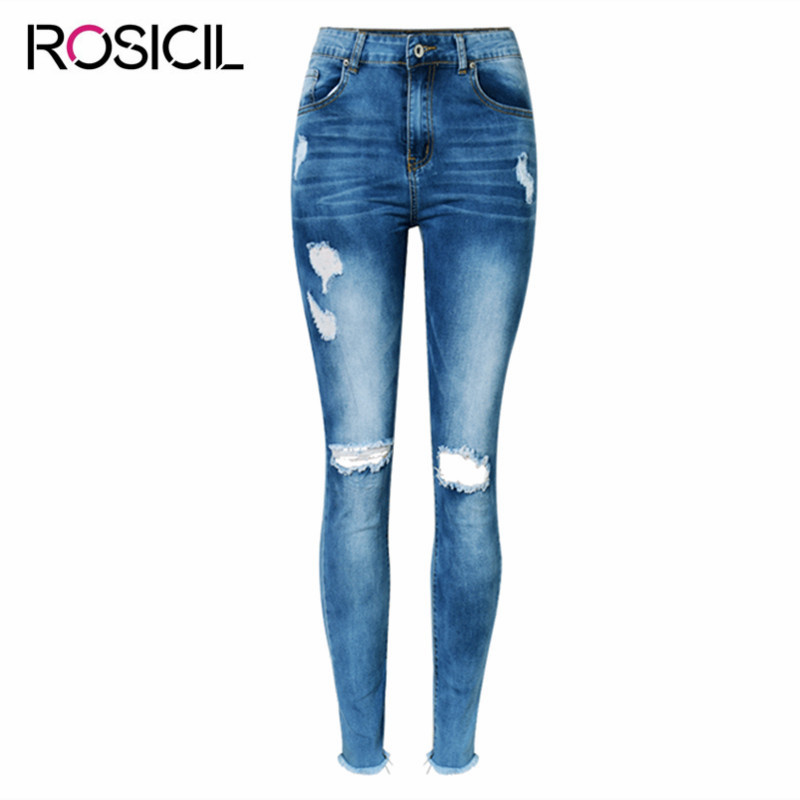 2017 High Waist Ripped Jeans Women Casual stretch Slim Elasticity Pencil Pants Broken Hole Denim Pure Cotton Tassel Jeans FemaleÎäåæäà è àêñåññóàðû<br><br>