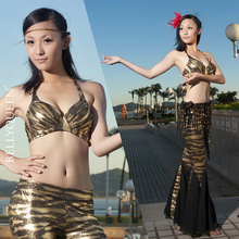 Belly Dance Costumes Set black gold zebra pattern bra top and fishtail pants 2pc set #605 Hot For Sale SF46