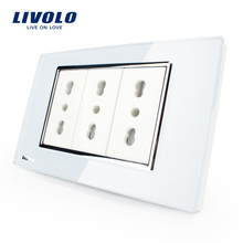 Livolo Italy Standard  3 Pins Socket, White Crystal Glass, 10A/16A, 250V, Wall Powerpoints With Plug,VL-C3C3AIT-81