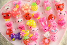 10pcs/lot Animals Flower Heart Assorted Baby Girl Children's Cartoon Rings free shipping Children are lovely and beautiful