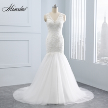 Buy Miaoduo White Lace Mermaid Wedding Dresses Sleeveless V-neck Appliques Court Train Bridal Gowns Mariage Vestidos de Novia for $113.75 in AliExpress store