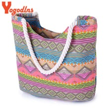 Yogodlns New Women Handbag Canvas Floral Printing Shoulder Beach Bags Casual Female Tote Shopping Bag Bolsa Feminina  2017
