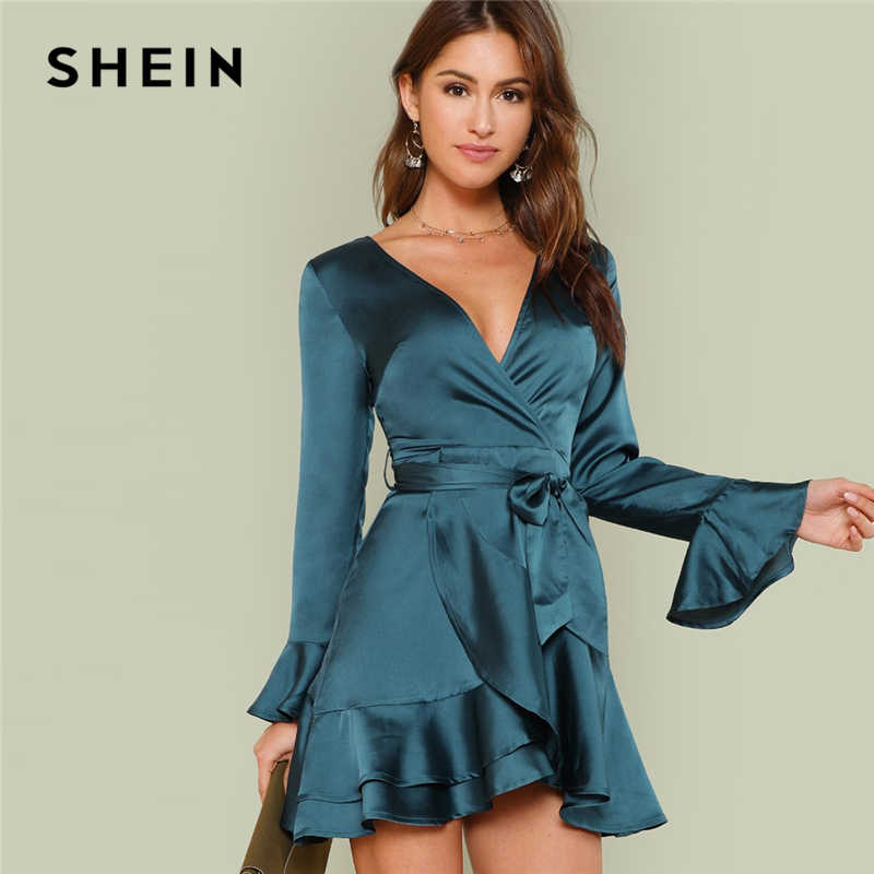 SHEIN Blue Party Elegant Sexy Split Back Ruffle Trim Overlap Front Belted Deep  V Neck High eccd803de