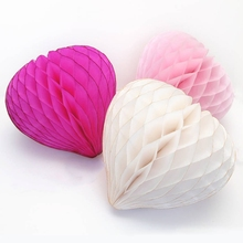 8''(20cm) Heart Style Honeycomb Tissue Balls Romantic Wedding Decoration Honeycombs Artificial Flowers Party&Home Supplies - Meichen Paper&Plastic Products Company store