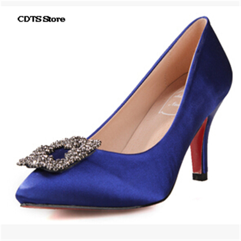 CDTS Plus:33 34-45 Fashion rhinestone pointed toe 8cm thin heels Red Bottoms silks/satins wedding shoes women high-heeled Pumps<br><br>Aliexpress