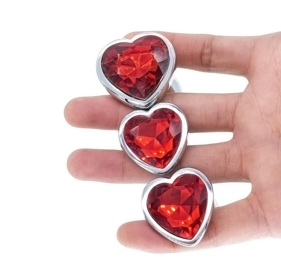 DOMI 3PCS Anal Beads Crystal Jewelry Heart Butt Plug Stimulator Sex Toys Dildo Stainless Steel Anal Plug 6