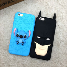 Fashion 3D Cartoon Stitch Batman Soft Rubber Back Cover for Apple IPhone 6 6s 5 5s SE Silicone Phone Case Shell Coque Capa Skin