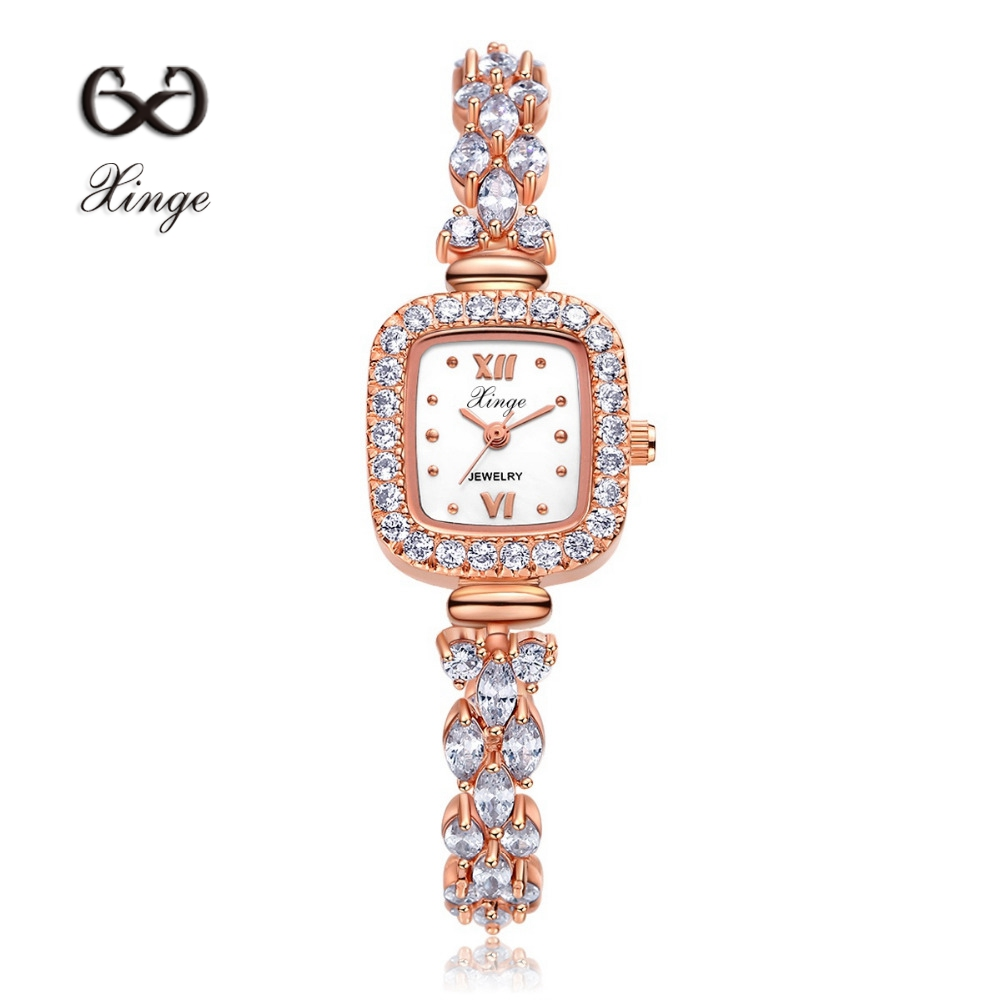 Xinge Brand Luxury Zircon Copper Bracelet Shell 30M Waterproof Rose Gold Wristwatch Women Dress Watches Fashion Ladies Watch <br>