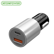 NTONPOWER Dual Port USB Car Charger DC12V-24V 33W Smart Quick Charger 3.0 USB Type C Car Charger for Xiaomi Mi5 LG G5 Galaxy S8(China)