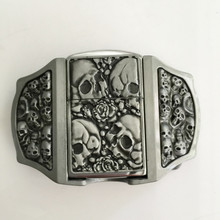 Retail 3 New Style 3D Silver Skull Lighter Belt Buckle With Pewter Fashion Man Woman Jeans Accessories Fit 4cm Wideth Belt