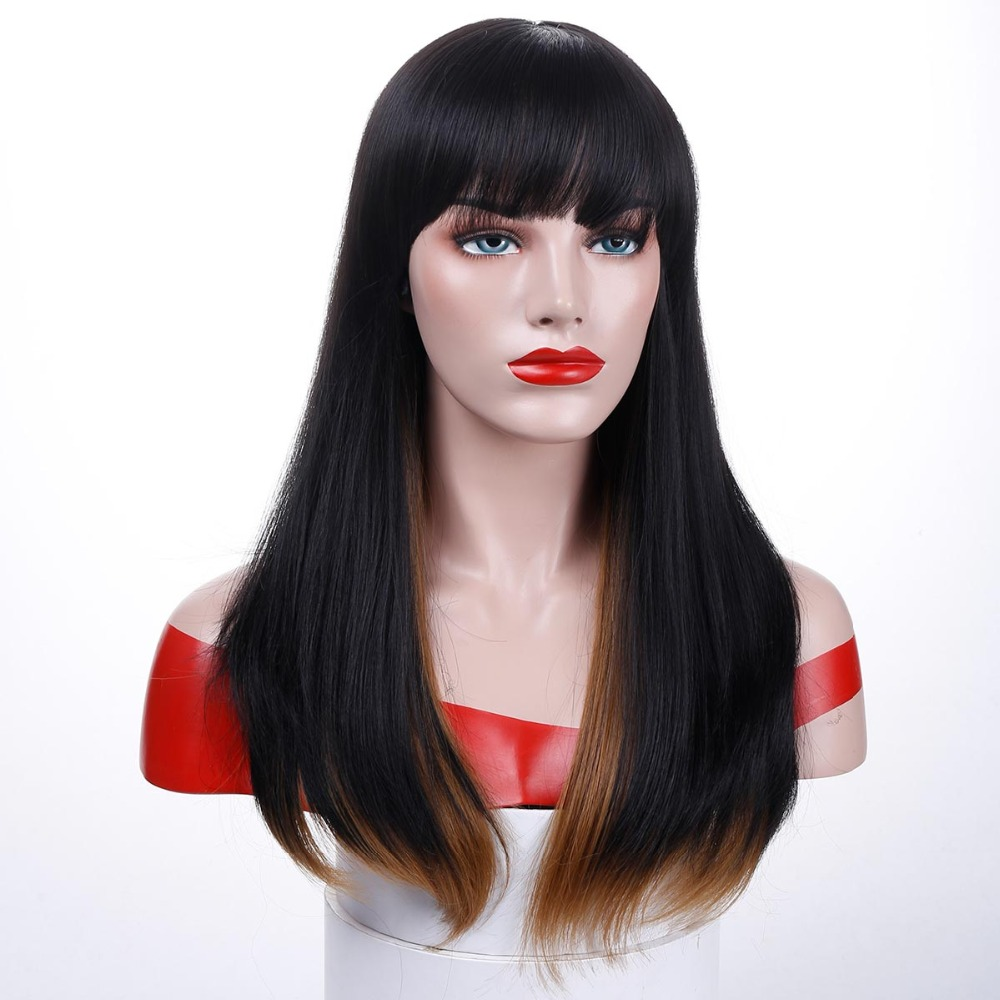 Allaosify Heat Short Resistant Black Wigs For Women With Flat Bangs