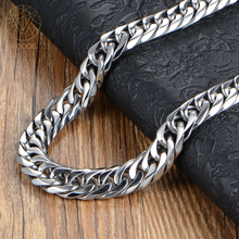 Luxury Chunky Gold Filled Curb Chains Cuban Necklace Mens Heavy Solid Link Motorcycle Chain Mechanic Biker Necklace Chain(China)
