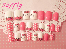 Saffly 24pcs Lovely animals False nails Fingernails Faux Ongles Printed Acrylic Nail Tips Art Pink Fake Nails with glue sticker(China)