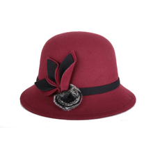 Women Dome Fedora Blend Woolen l Hat Mom Hats for Autumn and Winter Fur Ball Decoration Vintage Bowler Fedoras Caps(China)