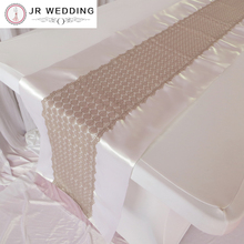 Beautiful Design Double White Satin And Brown Lace Table Runner For Wedding Decration Free Shipping