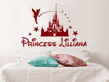 Castle Personalized Princess Girl Name Vinyl Sticker Wall Decals Custom Name Fairy Stars Nursery Decor Kids Room Wall Art A946(China)