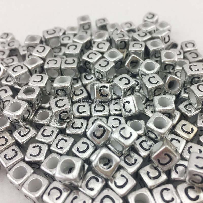 6x6mm ARGENT /& NOIR Alphabet//Lettre Acrylique Cube Perles 26 Lettre Choisir