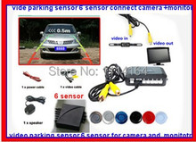 Car Video Parking Sensor 6 Reverse Radar System,2 for front 4 for back connect camera and monitor,Digital Display/ Step-up Alarm