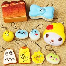 New Arrival 10PCS/SET Random Cute Soft Squishy For Cell phone Panda/Donut/Cake Charms Straps