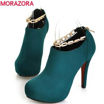 MORAZORA 2016 Outono nova Quente ankle boots mulheres de luxo retro das mulheres casuais sapatos de salto alto martin botas 4 cor de metal cadeia