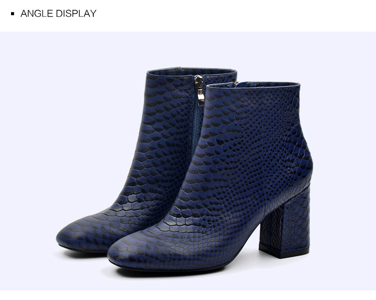 Donna-in 2017 new style ankle boots sexy snake leather women boots retro square toe thick high heel autumn boots 15325-19 (12)
