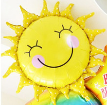 New 60*60cm Cute Smile Face Sunflower Balloon Baby Shower Foil Golden Balloon Party/Birthday/Wedding Decoration Free Shipping