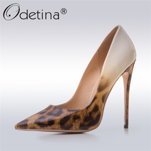 Odetina 2017 New Designer Ladies Leopard High Heels 12CM Sexy Pumps Women Party Shoes Stiletto Pointed-toe Fashion Big Size 43(China)