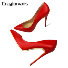 Craylorvans 2018 NEW ARRIVE Red Women Shoes Sexy Stilettos Wedding Shoes 12/10/8cm High Heels Party Pointed Toe Women Pumps(China)