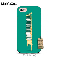 Black Silicone casea book lover giraffe Painted cover Colourful Style Design   Cell Phone Case For iPhone 4 5 5c 6 6pus 7 7plus
