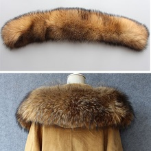 2017 new big raccoon fur hoody collar for parkas lady natural real fur scarves hooded big size genuine fur neck warmer for women