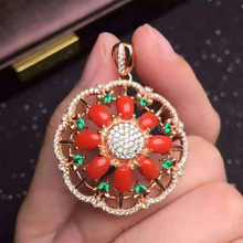 natural red coral stone pendant S925 silver Natural gemstone Pendant Necklace trendy big Round ball women wedding jewelry(China)