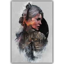 Geralt-The Witcher 3 Hunting Wild Game Hot Artistic Silk Fabric Poster Print 12x18 20X30 24x36 32x48inch Room Decor YX105