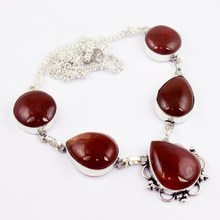 Carnelian Necklace   Silver Overlay over Copper , 47.5cm, N0033