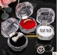 Transparent Acrylic Ring storage Box 40*40mm Jewelry Case Ear Nail Box 3 colors mixed 10pcs/lot