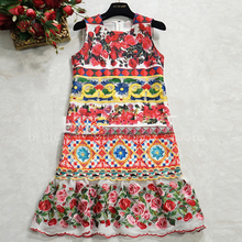 Novelty Mini Dresses European Luxury Sleeveless Summer 2017 Fashion Women Rose Print Topshop Embroidery Beautiful Vest Dress