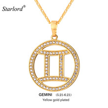 New Zodiac Charms GEMINI Pendant Necklace Simple Design Jewelry Gift Rhinestone Gold/Silver Color Necklace For Men/Women P2505