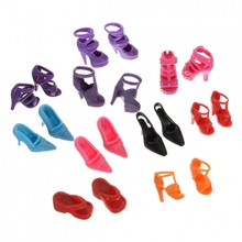10 Pairs/lot Fashion Dolls Heels Sandals Set For Barbie Doll Shoes Colthes Dress 1x2.5cm Dolls Accessories Multi style