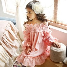 Girls Flower Neckline Off Shoulder Lace Party Dress Princess Pink Asymmetric Ruffles Spring Fall Holiday Dresses(China)