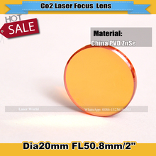 "China ZnSe Laser Lens Dia 20mm Focus Length 50.8mm/2"" for Co2 Laser Cutting Engraving Machine Cutter Parts Focus Free Shipping"