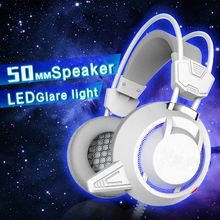 Heavy Bass Light Comfortable Computer Games LED Luminous Headphone with 3.5 mm Jack Earphone Microphones Headset