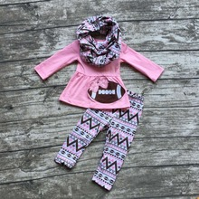 2016 new free shipping FALL/Winter baby girls OUTFITS 3 pieces scarf pink football top bow Aztec pant boutique clothes sets(China)