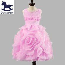 New 2016 Flower Girls Christening Wedding Party Pageant Dress Bridesmaid Clothing Baby First Communion Toddler Gowns Child