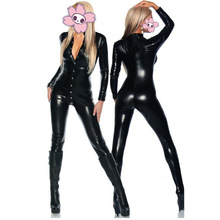 Buy New Sexy Women Black Patent Leather Jumpsuit Hot Vinyl Latex Bondage Catsuit Wetlook Leotard Covered Button Bodysuit Clubwear