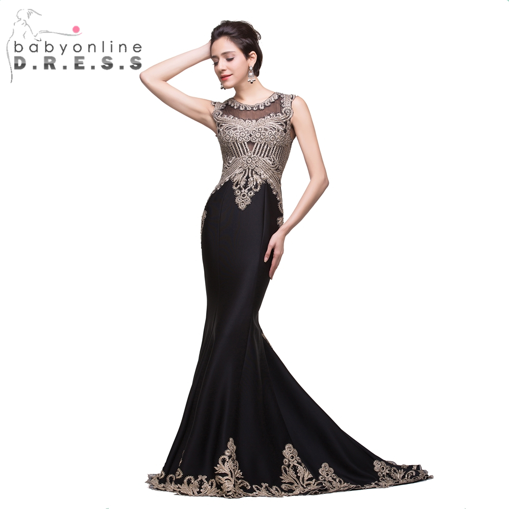 New Black Long Mermaid Prom Dresses Women Beautiful Lace Appliques Dresses Sexy Illusion Back Evening Party Dress Vestido Longo