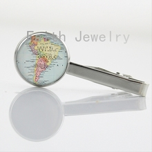 Antique World Map collar clips South America Spain Africa British Isles Cincinnati Costa Rica Detroit map tie clips gifts NS047